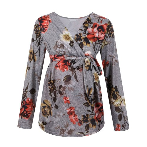 Ruched Floral Women Pregnant Nusring Blouse Maternity V-neck Long Sleeve Ruffles Lace Up Tops Pregnant Women Breastfeeding Tees