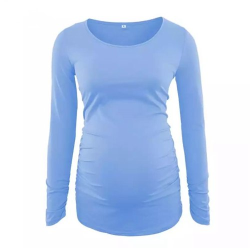 Women's Clothes Maternity Side Ruched T-Shirt Autumn Long Sleeve Solid Color Pregnant Tee Shirt Tops Pregnancy Blouse Casual Top