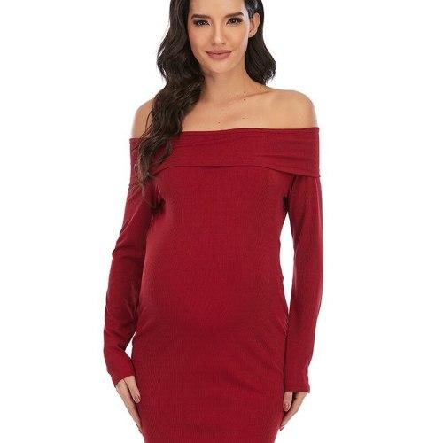Woman Dress Spring/Autumn New Pregnant Women Dress Solid Color Slash Neck Shoulder Long Sleeve Stitching Dress