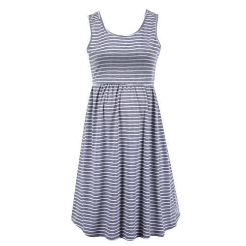 Maternity Dress Sleeveless Breastfeeding Sundress Summer Women Fashion Casual Clothes Ladies Stripe Printed Pregnancy Dress