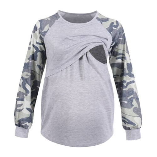 Casual Women Long Sleeve Maternity Tops Breastfeeding Tops Ladies T-Shirt Loose Mom Pregnancy Loose Clothes Mummy T Shirt