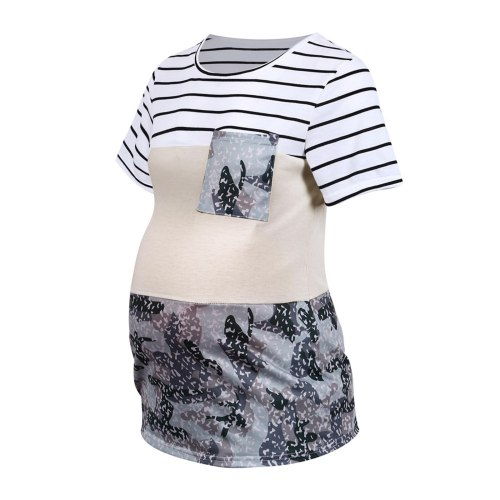 Women's Maternity T-Shirt for Pregnant Women Summer O-Neck Solid Short Sleeve Stripe Camouflage Patchwork Tops Maternity Clothes
