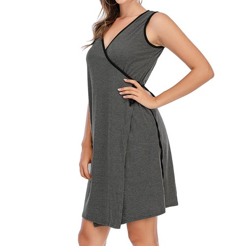 Nursing Breastfeeding Dresses Summer V Neck Casual Knee-Length Solid Tank Dress Pregnancy Clothes Maternity Dresses