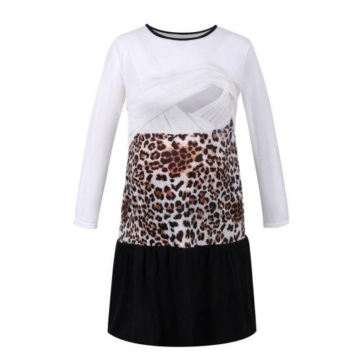 Women Maternity Dress Long Sleeve Nursing Dress Leopard Print Color Block Nursing Feeding Dress Summer Pregnancy Clothes