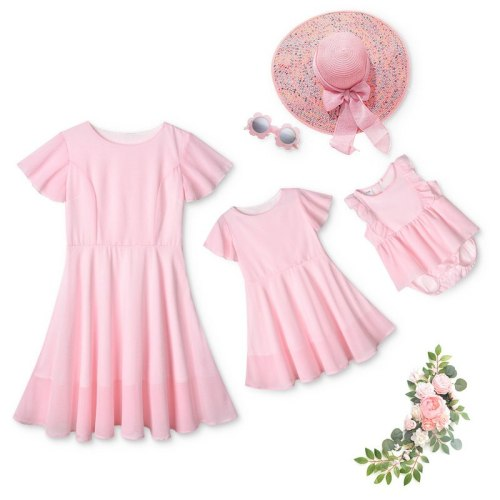 New Family Women Girls Pink Dress Mother Daughter Wedding Party Dresses Mommy Kids Clothes Mom Baby Romper Matching Outfits