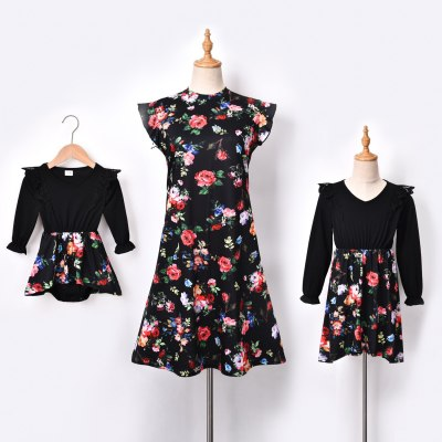 New family Mother Daughter Macthing Dresses Family Set Flower Mom Mum Baby Mommy and Me Clothes Fashion Women Girls Cotton Dress