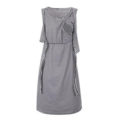 Maternity Drawstring Nursing Dress Summer Striped Pregnancy Postpartum Breast Feeding Dresses Pregnant Womens Clothing Plus Size