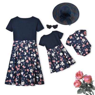 2021 Family Look Dress Mami Daughter Floral Print Dress Cute Dress
