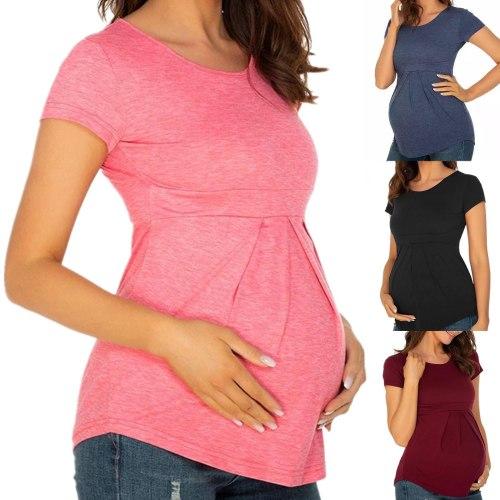 Maternity T-shirt Summer Women Top Round Neck Short Sleeve Ruffle Fold Pregnant Tops Elegant Pregnancy Nursing Shirt Clothes