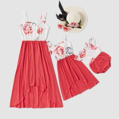 Family Matching Dresses Flower Print Stitching Irregular Long Dress Parent-child Dress Mom Daughter Outfit