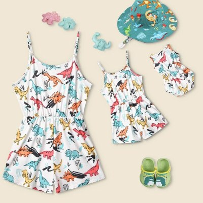 Cartoon Print Mother Daughter Matching Dresses Family Look Mommy and Me Clothes Outfits Mom Mum & Baby Romper Strap dress