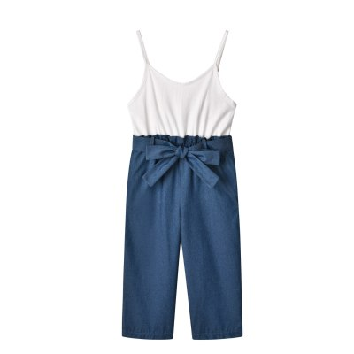 Family Matching Outfits Denim Blue Strapless Jumpsuits 2021 New Family Clothing Set Baby Girl Clothes Baby Rompers Toddler Girl
