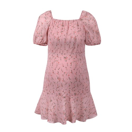Summer Maternity Dresses Fashion Pleated Short-sleeve Pink Square Collar Pregnancy Clothing Floral Print Maternity Robe Femme