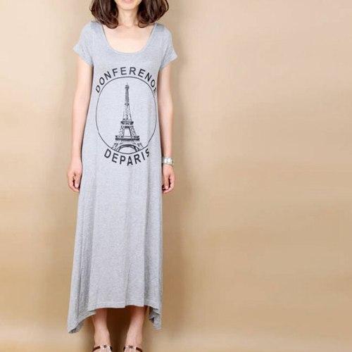 Wholesale Tower Short Sleeve Large Swing Modal Loose Maternity Dress Long Dress Letter Irregular Women Vest Dress