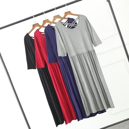 Spring Autumn Women Long Dress Modal Loose O Neck Backless Maxi Dress Female Pregnant Oversize Dresses Basic Party Vestidos