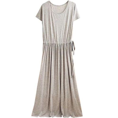 Women 2021 Summer Casual Solid Modal Cotton Dresses Female ShortSleeve O-Neck Maternity Daily Dress High Wasit New Drawstring Vestidos