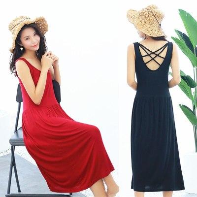 Women Long Dress Summer Autumn Loose Modal Backless Maxi Dress Female Pregnant Sleeveless Dresses Basic Party Vestidos
