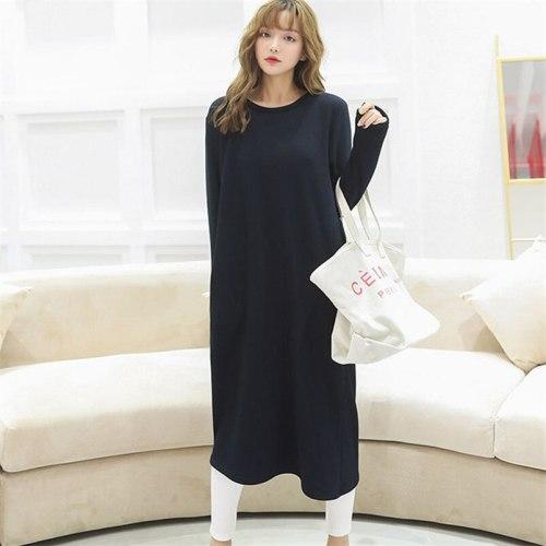 Autumn Winter Womens Fashion O-Neck Long Dress Female Solid Full Sleeves Warm Straight Maternity Dress