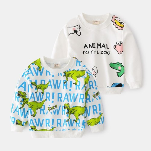 2021 Spring Autumn Round Neck Children'S Casual Long Sleeve Cartoon Animal Print Kids Baby Boy Sweatshirt Toddler Boy Clothes