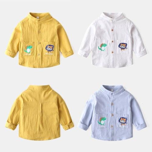 Csual Cute Cartoon Boys Shirts Madarin Collar Quality Fashion Kids Tops Outfit Summer Fall Children's Clothes