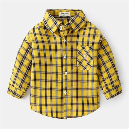 Kids Plaid Shirt Children's Cotton Outfit Childrens Shirts Baby Boys Girls Blouse Top Baby Clothing Autumn Baby Clothes 2021