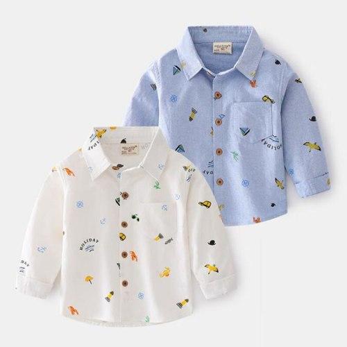 Casual Spring Baby Boys Shirt Children Children's Autumn Kids Baby Boys Long Sleeve Cartoon Printing Shirt