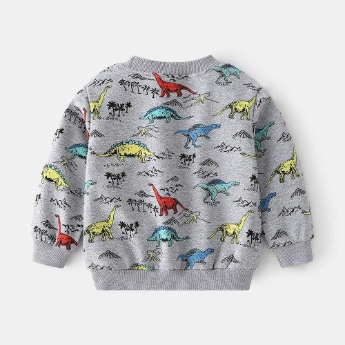 2021 Spring and Autumn 2-8 Years Children Long Sleeve Cartoon dinosaur Animal Print Baby Kids Boy Sweatshirt baby boys clothes