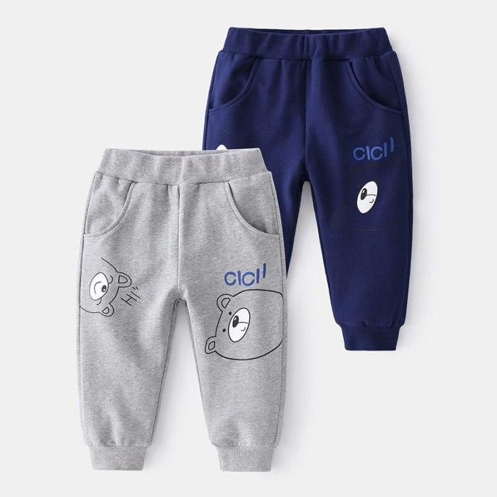 Boys Spring Cute Cartoon Bear Printing Sweatpants 2021 New Childrens Fashion Mid Waist Comfortable Casual Trousers 2-6 Years