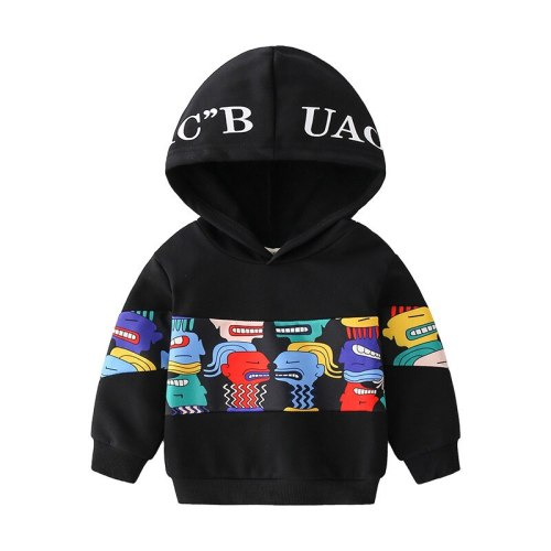 2021 Spring Casual Black Print Hooded Baby Boys Sweatshirt Abstract Cartoon Hoodies For Boys 1-6 Years Children's Clothing