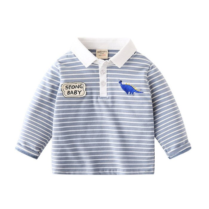Kids Long Sleeve T Shirts 2021 Autumn New Baby Boys  Lapel Casual Striped T Shirt Children's Cotton Fashion Tops for Boys 2-7 Y