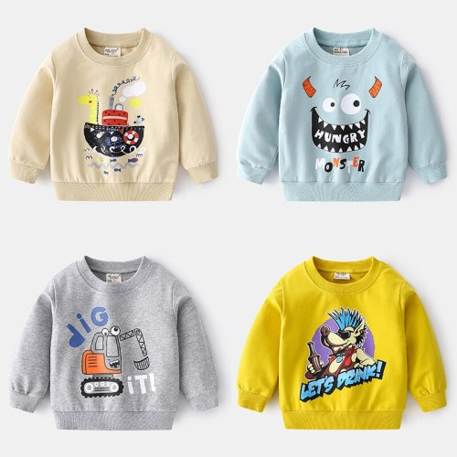2021 New Spring Autumn Childrens Clothes Boys Cotton Bottoming Shirt Fashion Cartoon Printing Sweater Casual Soft Round Neck Top