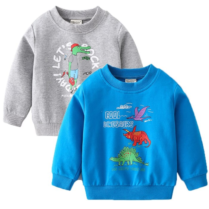 2021 Spring New Boy Cute Cartoon Pullover Sweater Printing Trend Fashion Long-Sleeved Shirt Children Clothing Baby Boys Sweater