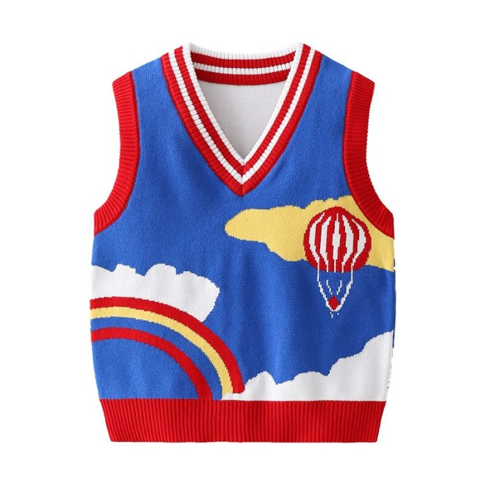 2021 Printed Rainbow Knit Vest For Kids Casual Baby Boys Clothes Spring Comfortable Children's Coat 1-6 Years V-Neck Kid Top