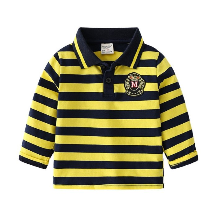 2021 Spring Lapel Bottoming Shirt For Boys Cotton Comfortable Children's Clothing Striped Long Sleeves Kids Sweatshirt Top