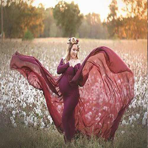 Maternity Elegant Long Sleeve Pure Colour Shoulder Dress