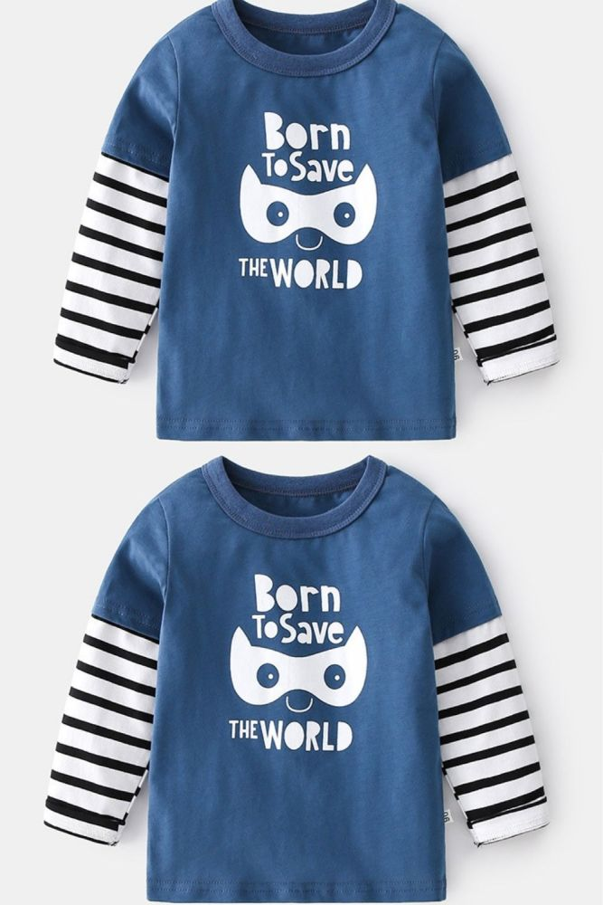 2-7T Toddler Kid Baby Boy Girl Clothes Spring Summer Top Striped Long Sleeve Print Cute T Shirt Sweet Cotton Tee Infant Outfit