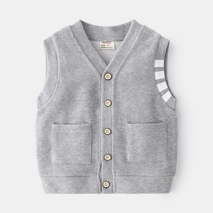 Spring Kids Clothes New Casual Cute Boys Single Breasted Vest Children Top Trendy Little Gentleman Two Color Small Vest