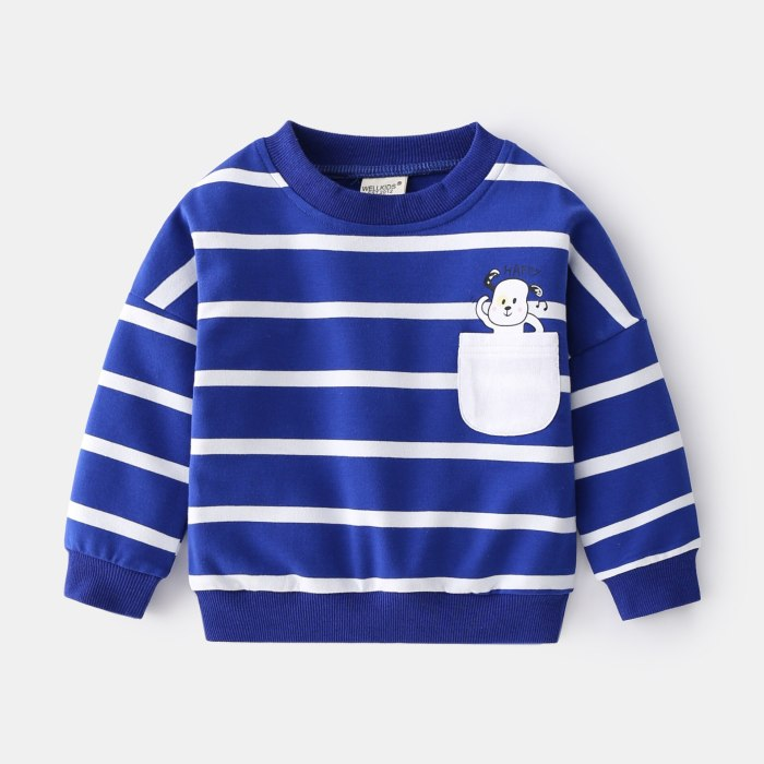 2021 Simple Stripes Children's Clothing Spring New Round Neck Sweatshirt For Boys Casual Loose Kids Pullover All-Match Tops
