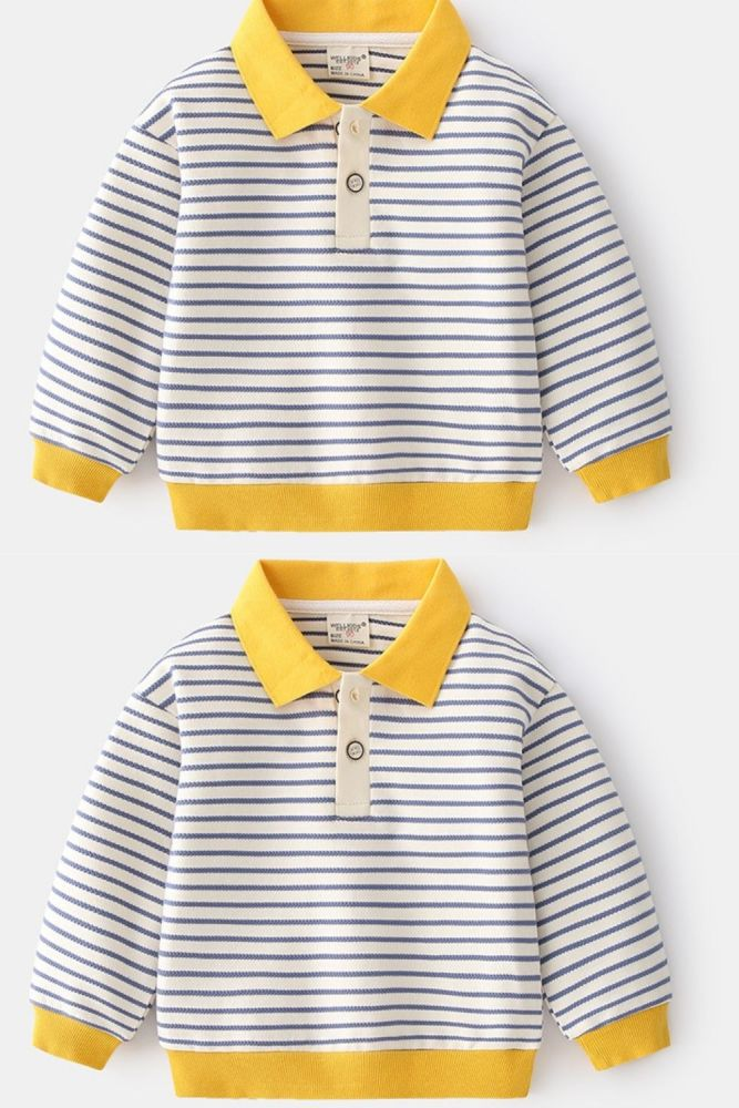 2021 Autumn Stripe Baby Boys Clothing Sweatshirt For Children's Casual Pullover 2-6 Years Lapel Kids Pullover Tops For Boys