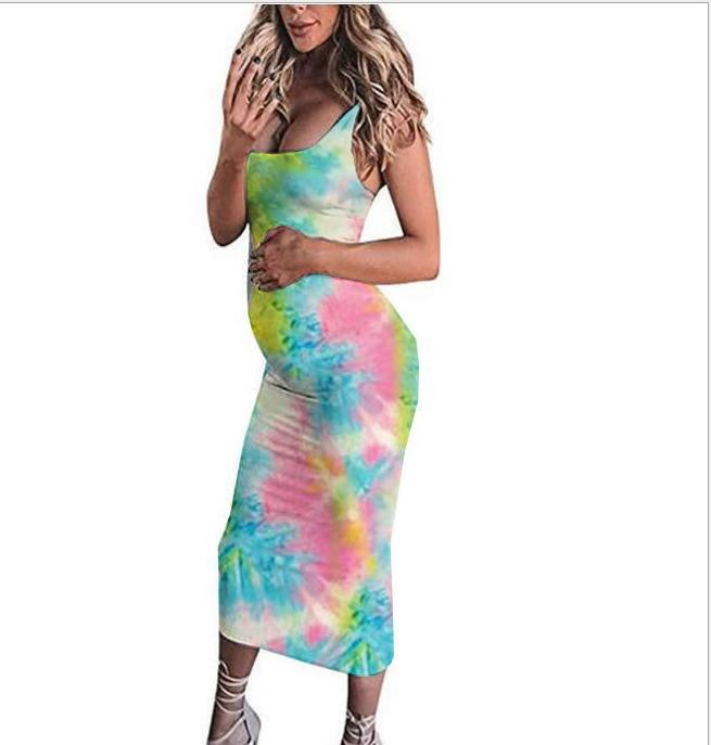 Maternity Dresses Pregnant Women's Summer Fashion Print Sleeveless Vest Maternity Dress