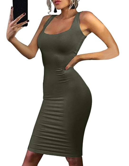 Womens Sexy Slim Bodycon Dress Vestidos Milk Silk Brushed Knitted Dresses O neck Sleeveless Noodles Tank Dress