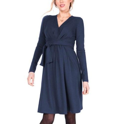 Fashion Long Sleeve Belt Women Maternity Wear Casual Nursing Dress Cross V Neck Maternity Solid Color Comfortable Dresss