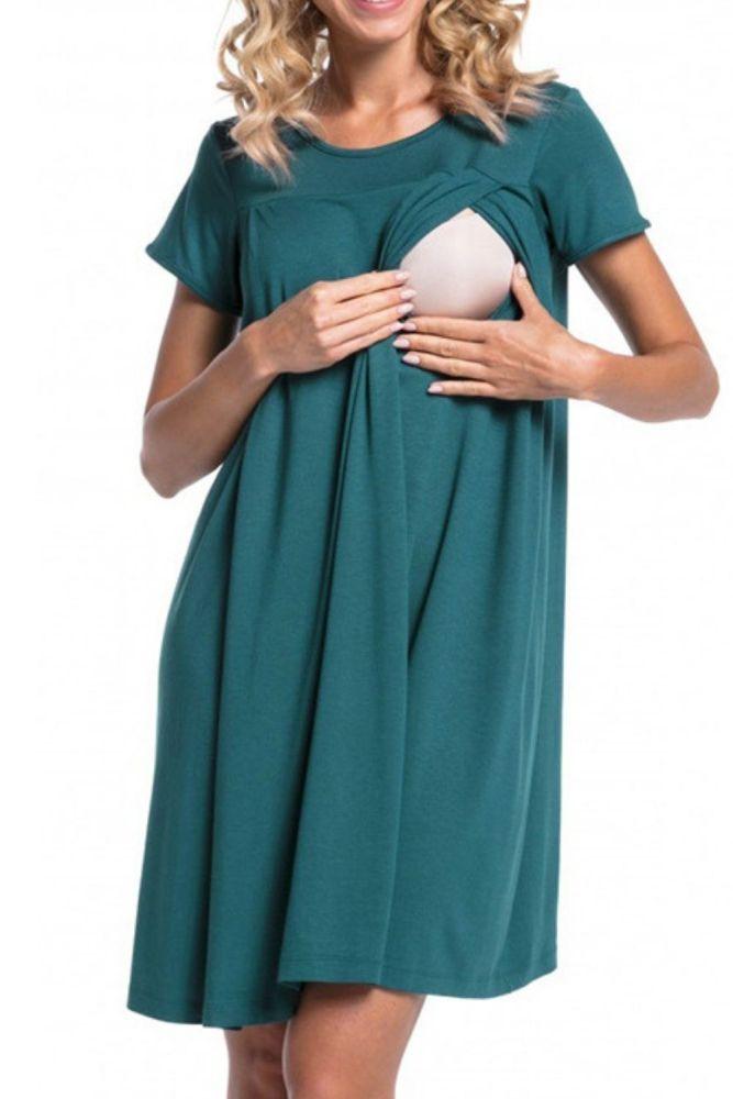 Summer Pregnant Women Hospital Nursing Clothes Maternity Sleepwear Patchwork Breast Feeding BabyMommy Dresses Casual Nightdress