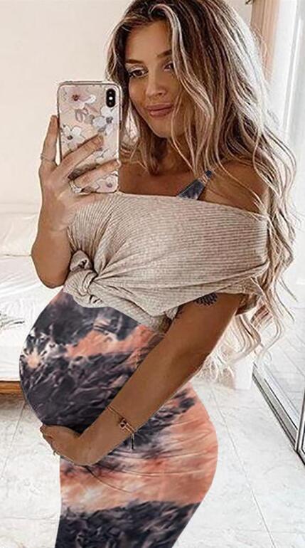 Maternity Dresses Floral Printed Pregnant Women's Summer Fashion Print Sleeveless Vest Maternity Dress
