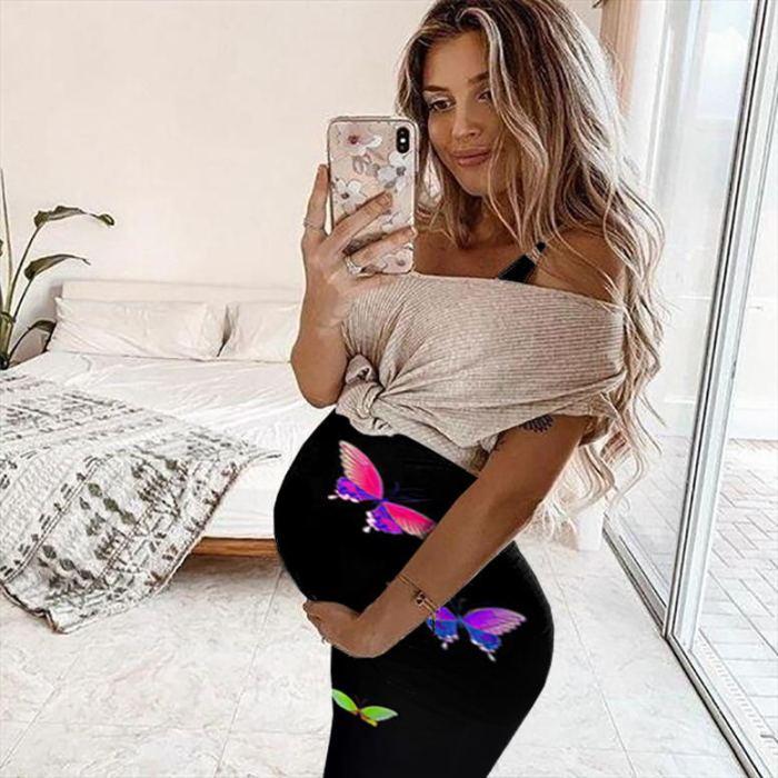 Maternity Dresses Butterfly Printed Pregnant Women's Summer Fashion Print Sleeveless Vest Maternity Dress