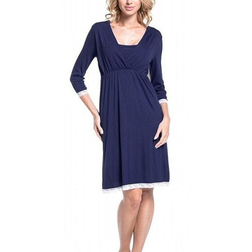 Maternity Dress Maternity Pajamas Solid Color Lace Stitching Breastfeeding One-Piece Dress Maternity Home Service Pajamas