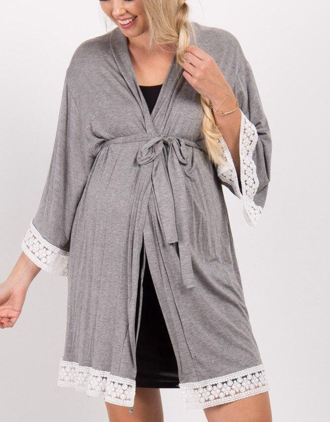 Maternity Solid Color Sleepwear Dress Pregnant Women Lace Stitching Cardigan Breastfeeding Robes Pajamas Pregnancy Mom Nightwear