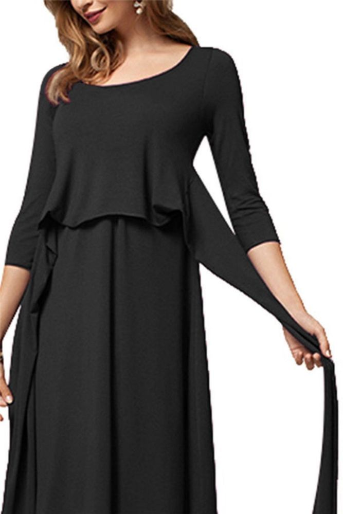 Moms Pregnancy Maternity Clothes Maternity Tops Women's Pregnancy Long Sleeve Dress Maternity Solid Color Shirt