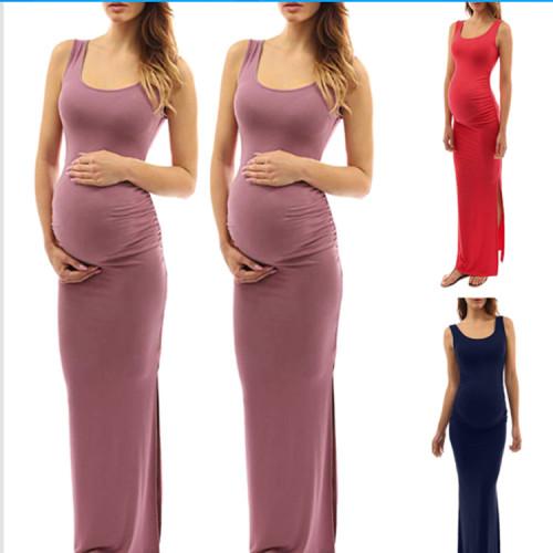 Maternity Solid Off Shoulder Sleeveless Dress