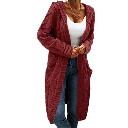 Oversized Cardigan Maternity Women Long Sleeve Hooded Sweater Oversize Winter Warm Cable Knit Jumper Female Casual Loose Knitted Cardigans